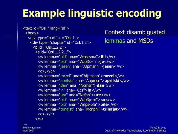 Example linguistic encoding