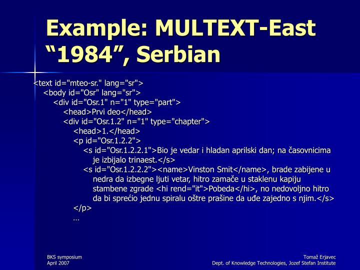 "Example: MULTEXT-East ""1984"", Serbian"