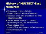 history of multext east resources