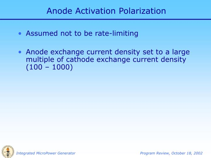 Anode Activation Polarization