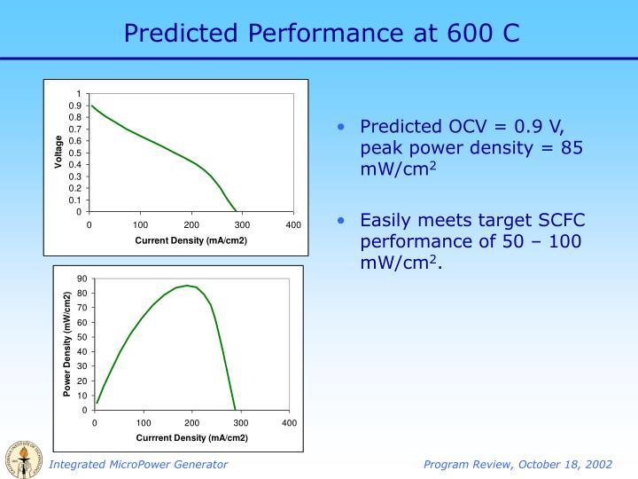 Predicted Performance at 600 C