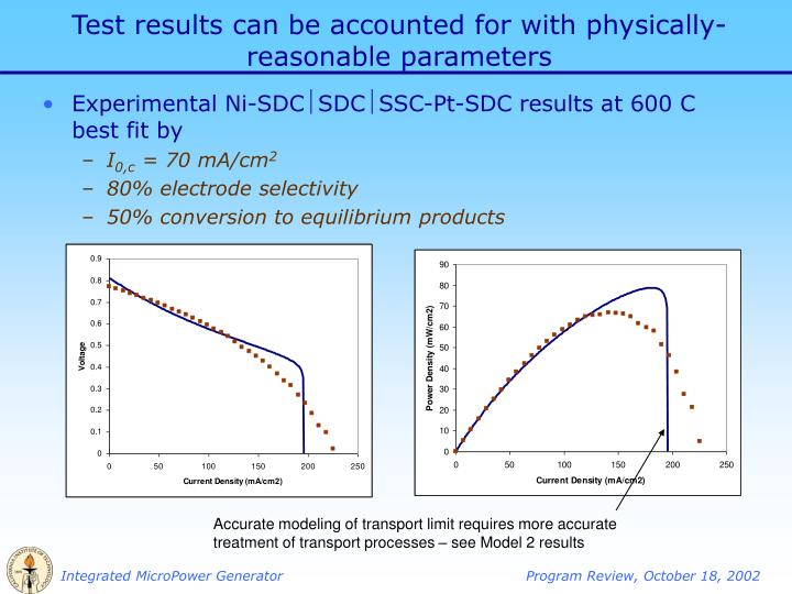 Test results can be accounted for with physically-reasonable parameters
