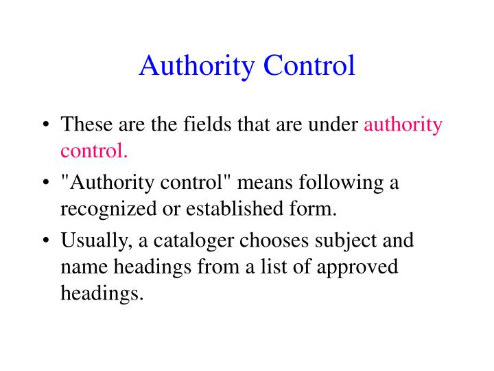 Authority Control