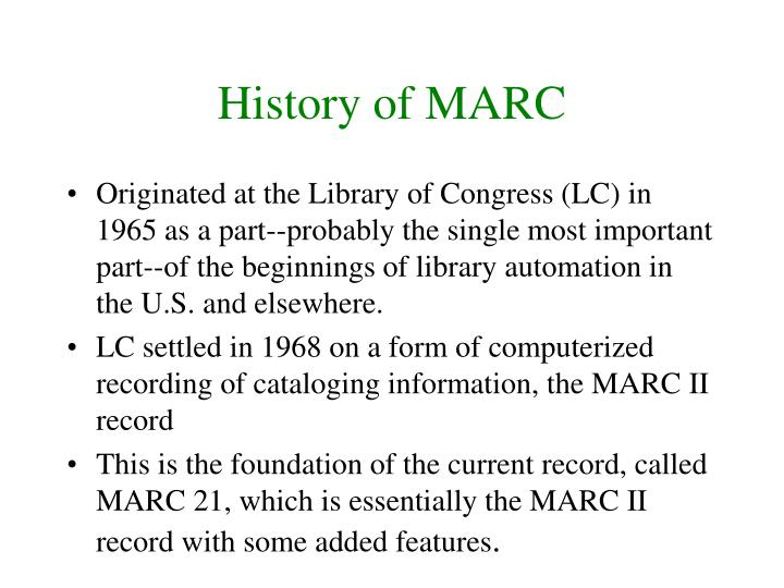 History of MARC
