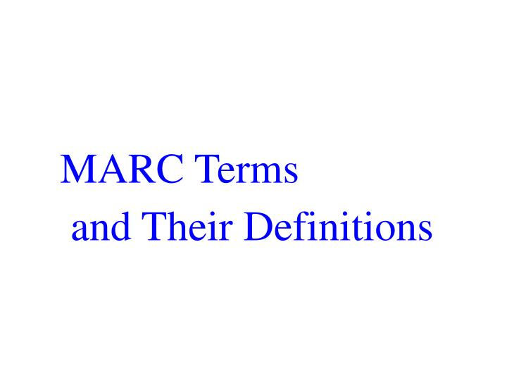 MARC Terms
