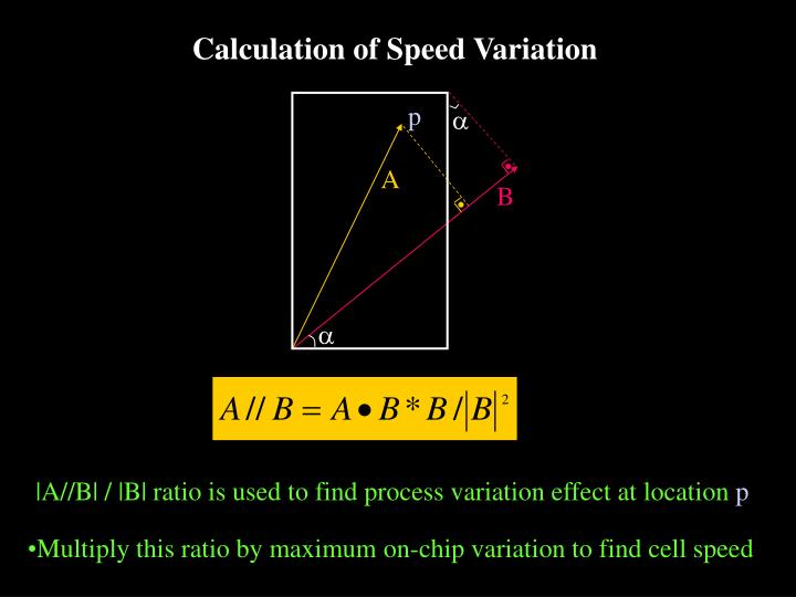 Calculation of Speed Variation