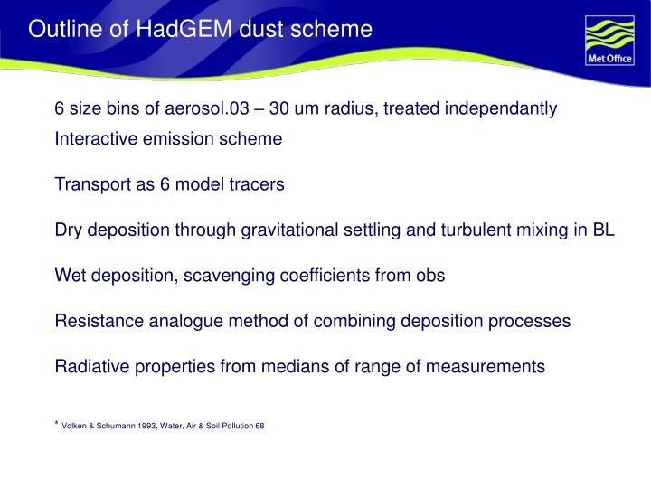Outline of hadgem dust scheme