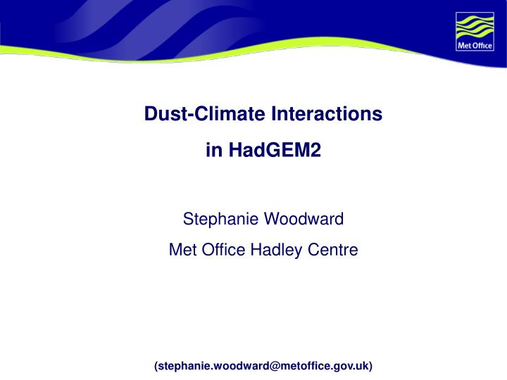 Dust-Climate Interactions