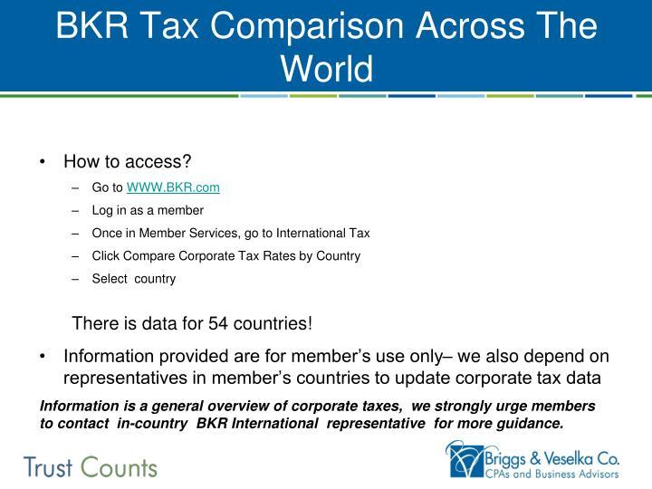 BKR Tax Comparison Across The World