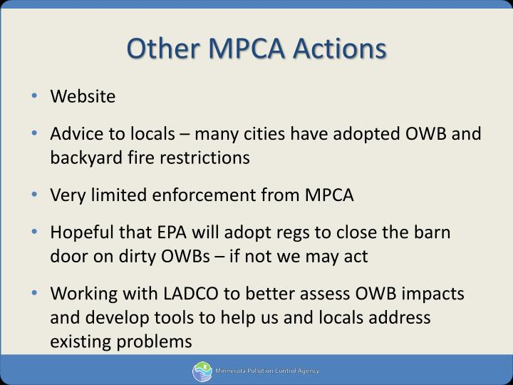 Other MPCA Actions