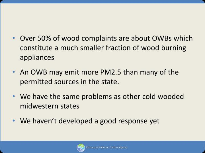 Over 50% of wood complaints are about OWBs which constitute a much smaller fraction of wood burning appliances