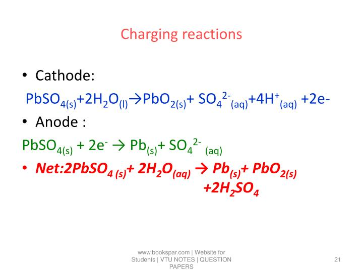 Charging reactions