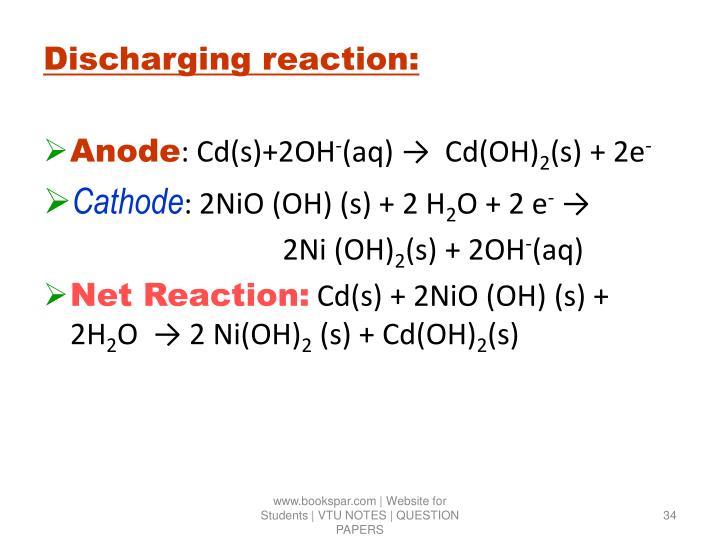Discharging reaction: