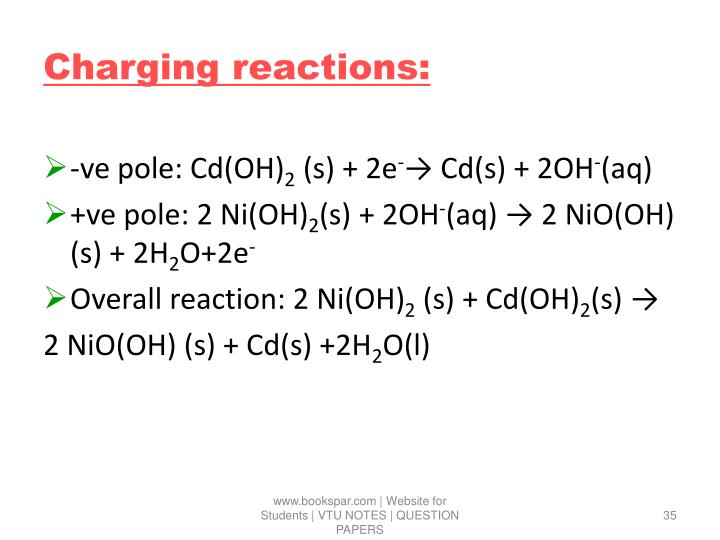 Charging reactions:
