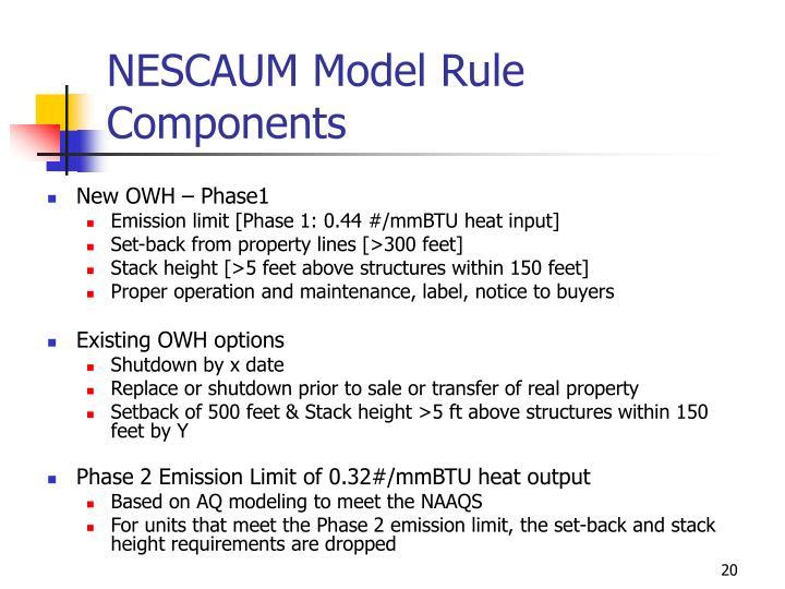 NESCAUM Model Rule Components