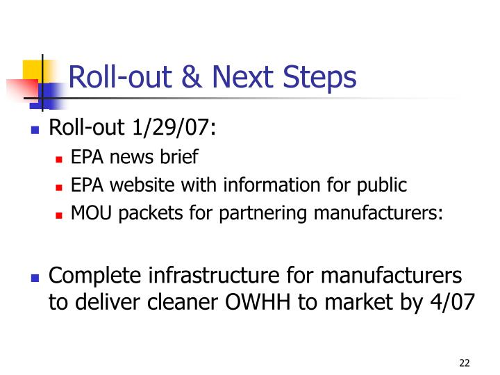 Roll-out & Next Steps