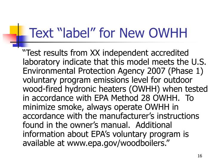 "Text ""label"" for New OWHH"