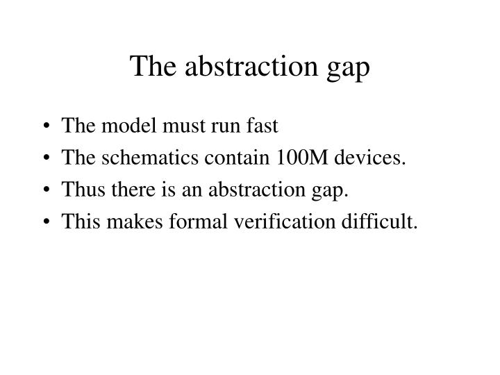 The abstraction gap