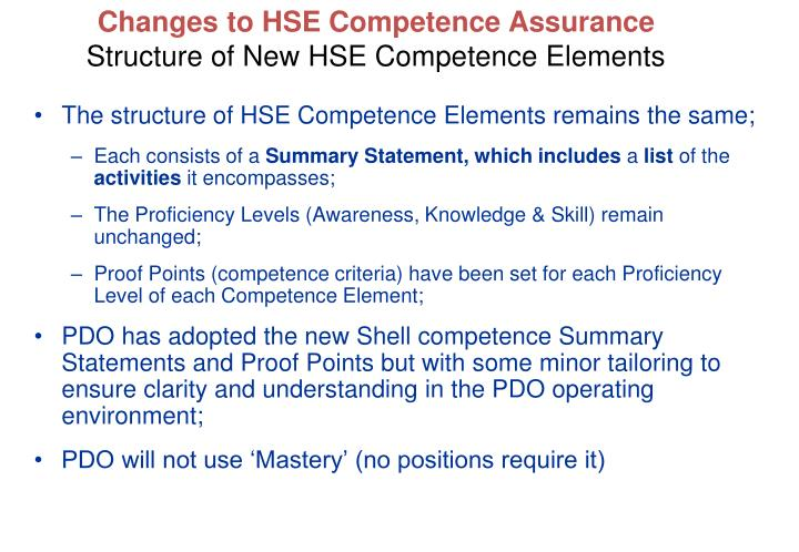 The structure of HSE Competence Elements remains the same;