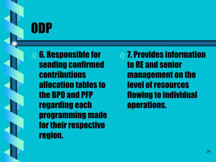 6. Responsible for sending confirmed contributions allocation tables to the BPO and PFP regarding each programming made for their respective region.