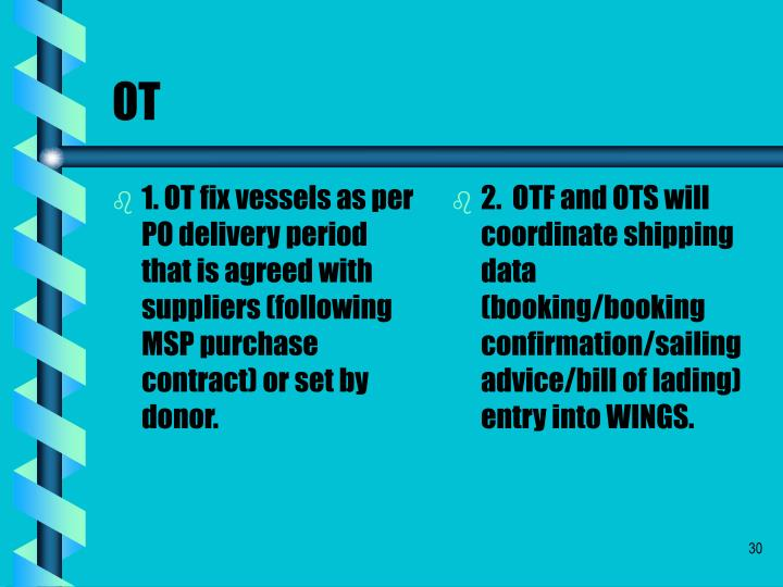 1. OT fix vessels as per PO delivery period that is agreed with suppliers (following MSP purchase contract) or set by donor.