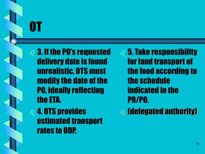 3. If the PO's requested delivery date is found unrealistic, OTS must modify the date of the PO, ideally reflecting the ETA.