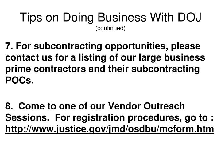Tips on Doing Business With DOJ