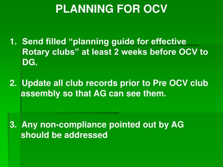 PLANNING FOR OCV