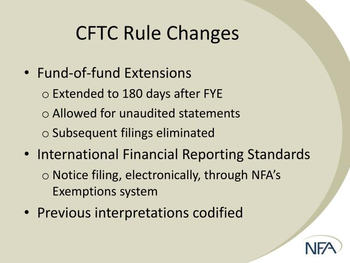 CFTC Rule Changes