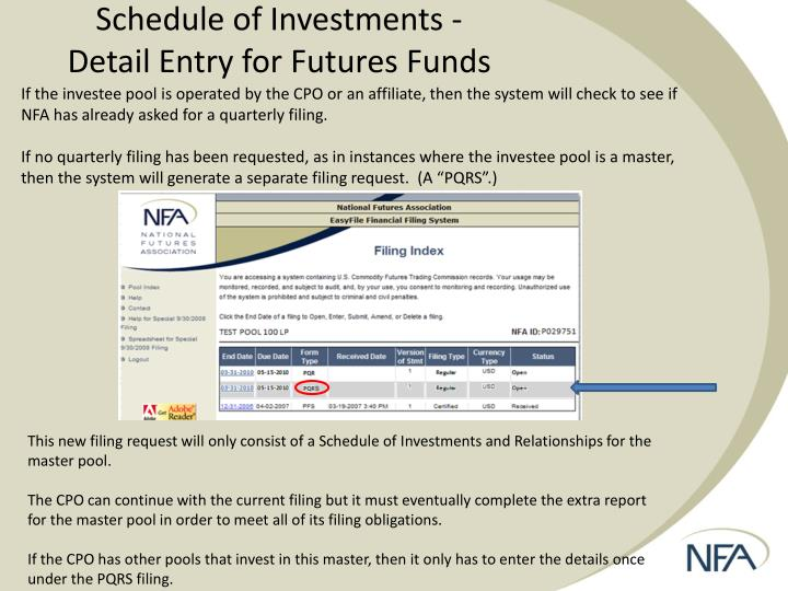 Schedule of Investments -                                    Detail Entry for Futures Funds