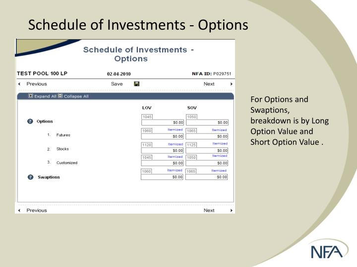 Schedule of Investments - Options