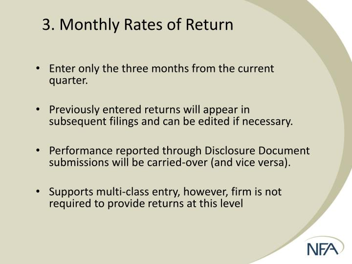 3. Monthly Rates of Return