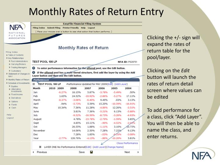 Monthly Rates of Return Entry