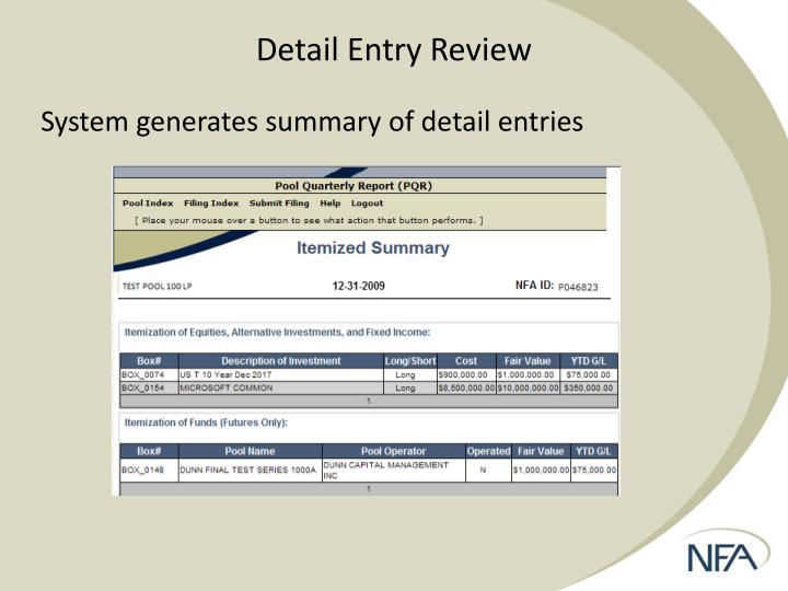 Detail Entry Review