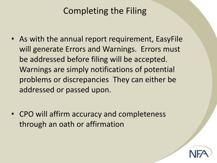 Completing the Filing