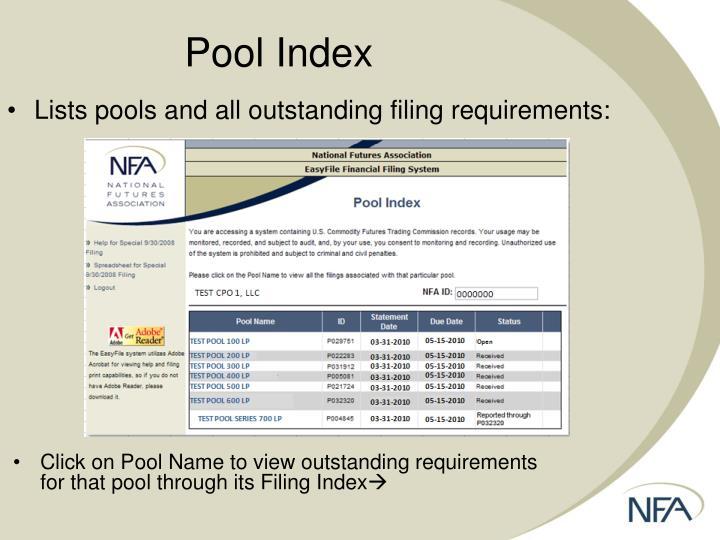 Pool Index