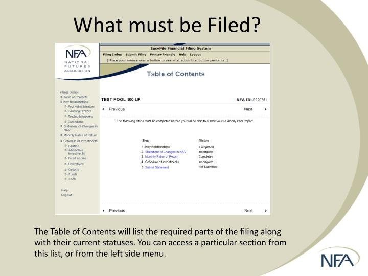 What must be Filed?