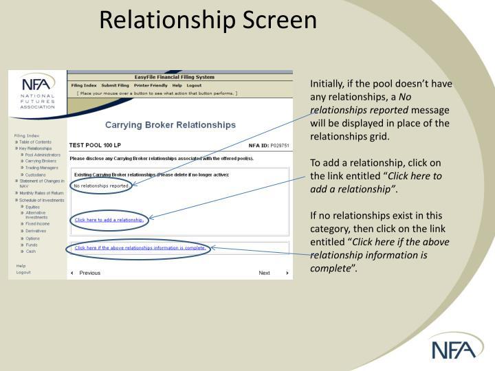 Relationship Screen