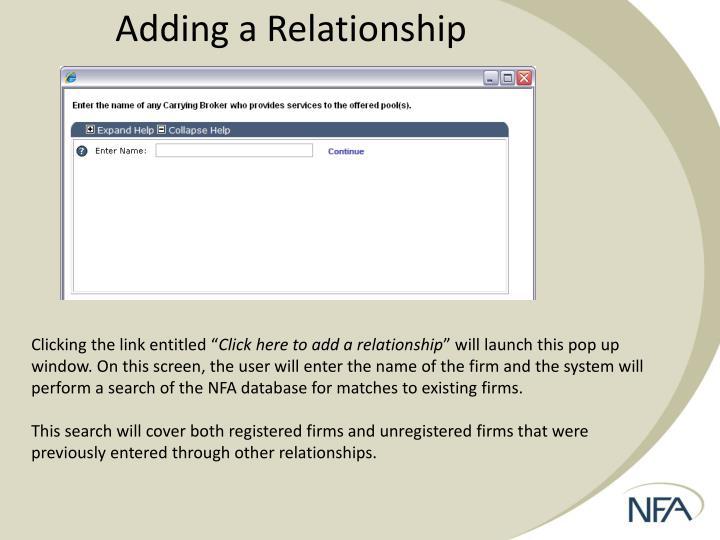 Adding a Relationship