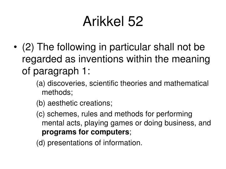 Arikkel 52