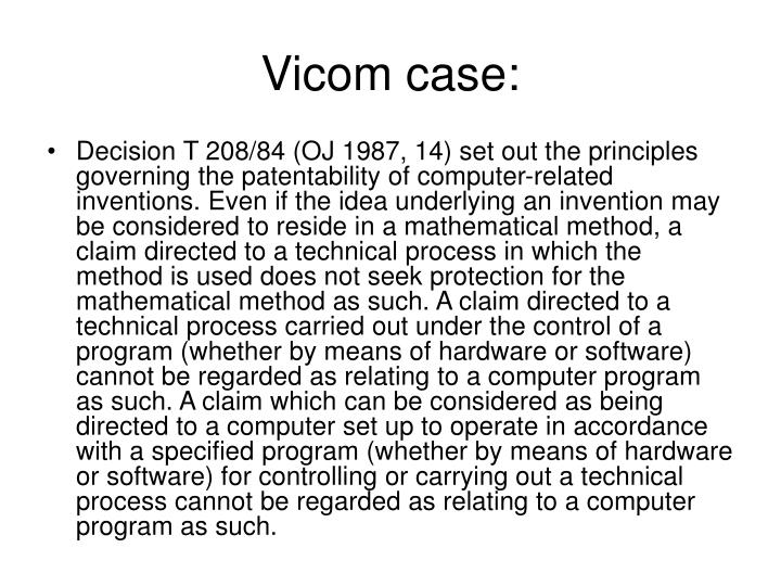 Vicom case: