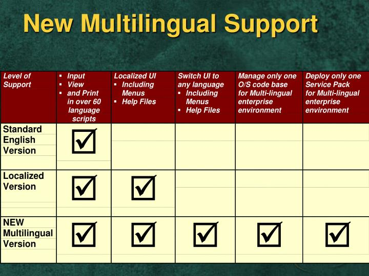 New Multilingual Support