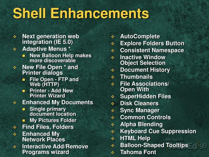 Next generation web integration (IE 5.0)