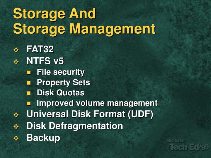 Storage And StorageManagement