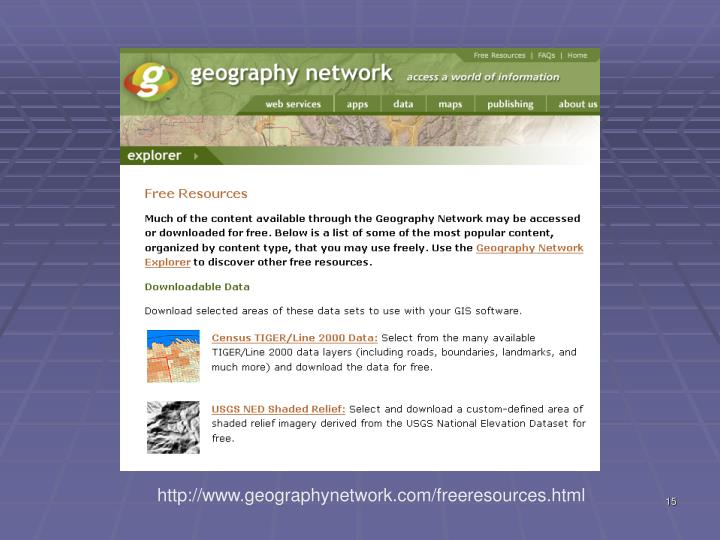http://www.geographynetwork.com/freeresources.html
