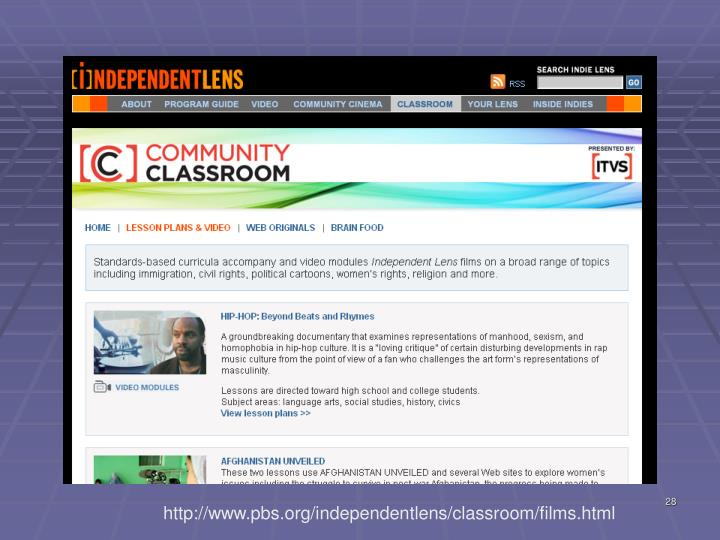 http://www.pbs.org/independentlens/classroom/films.html