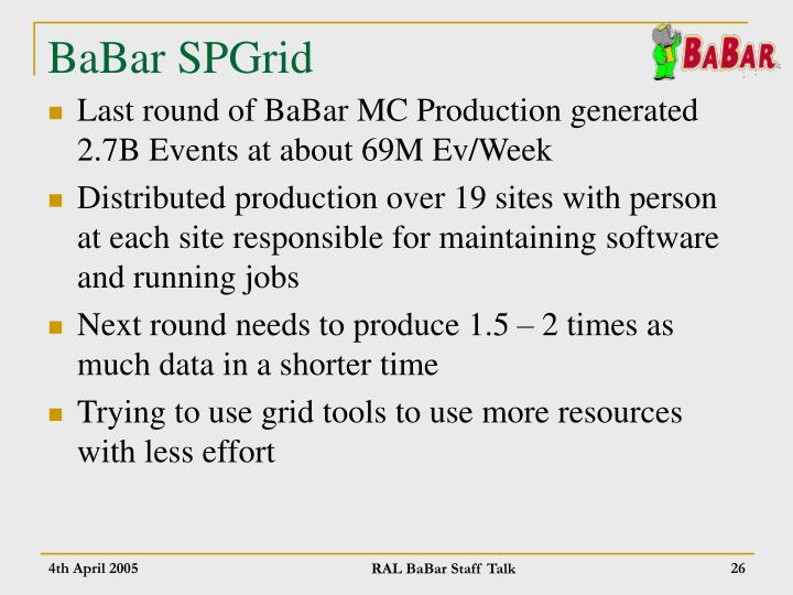 BaBar SPGrid