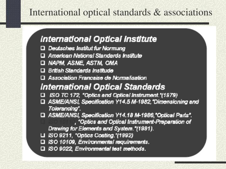International optical standards & associations