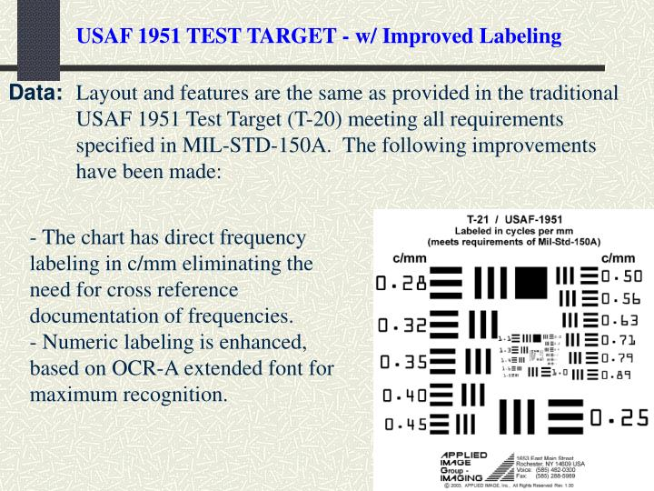 USAF 1951 TEST TARGET - w/ Improved Labeling