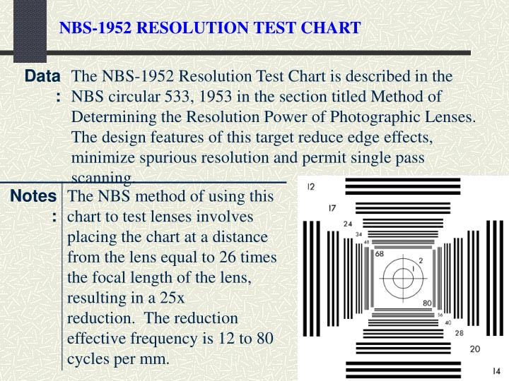 NBS-1952 RESOLUTION TEST CHART